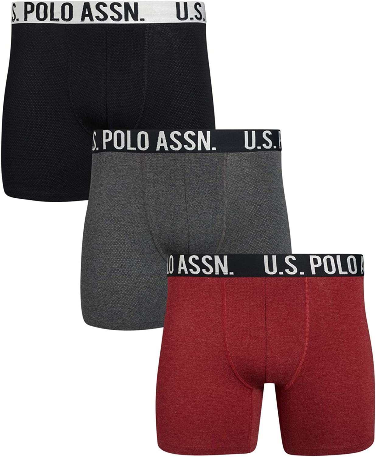 U.S. Polo Assn. Men's Athletic No Fly Mesh Boxer Briefs with Comfort Pouch (3 Pack)