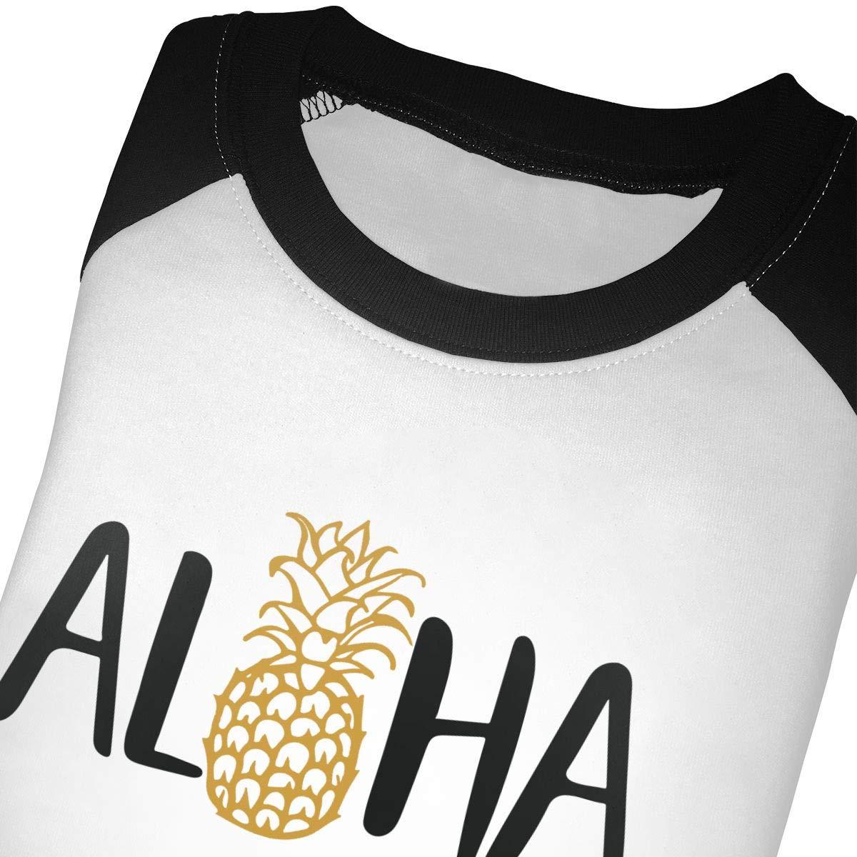Aloha Beaches Pineapple Unisex Toddler Baseball Jersey Contrast 3//4 Sleeves Tee