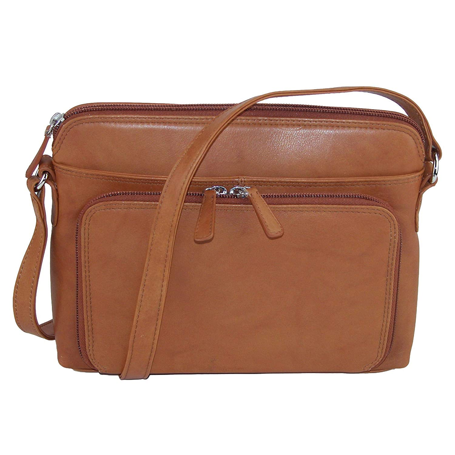 CTM Women s Leather Shoulder Bag Purse with Side Organizer b181f457e4823