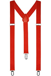 RED PARTY ADJUSTABLE TROUSER BRACES SUSPENDERS MENS LADIES UNISEX FANCY DRESS