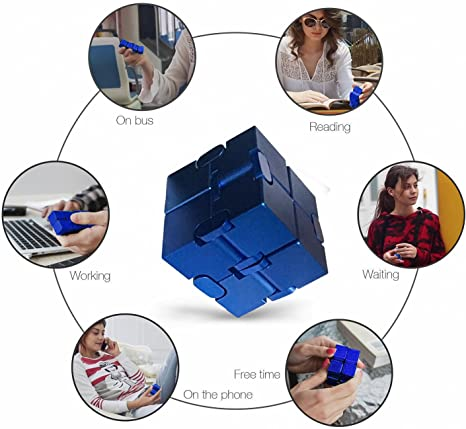 Relief Stress /& Anxiety Infinity Cube Blue Aluminum Alloy ADHD Faxadella InfiniteCube Luxury Fidget Finger Toy
