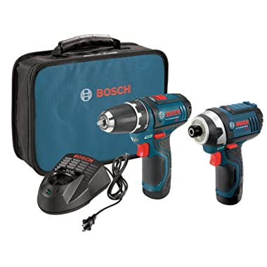 Bosch Power Tools Drill Kit - CLPK22-120, BC330 - 12-Volt, Two-Tool Drill Kit – Power Drill, Impact Driver, Cordless Drill Set - Includes Two Drills, Two Lithium Batteries, 12V Charger, Contractor Bag
