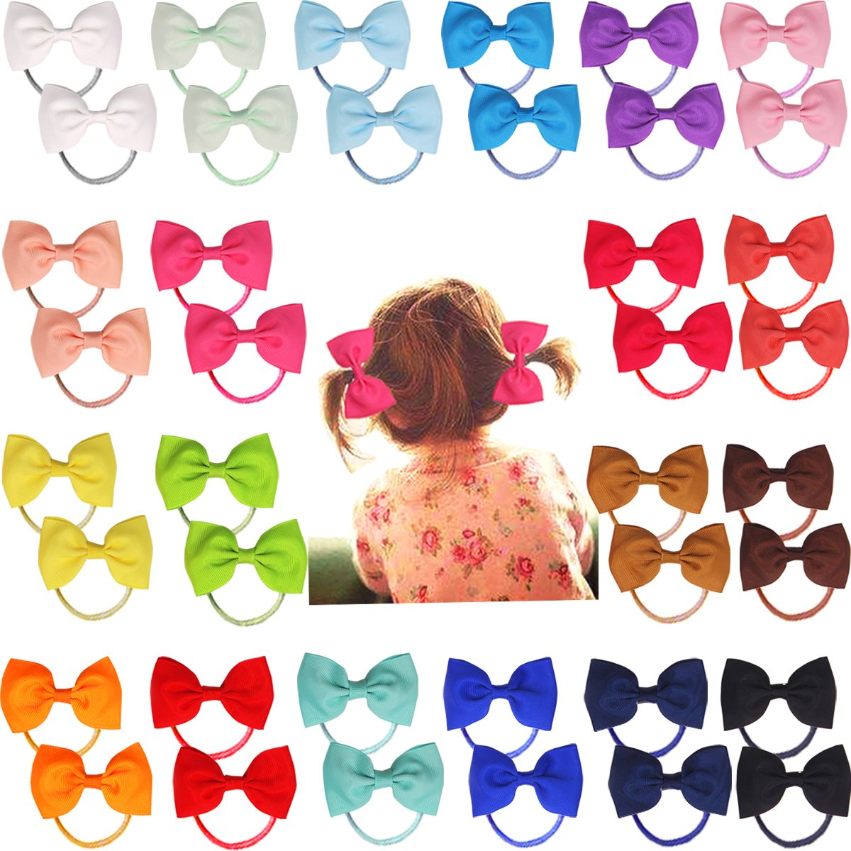 40pcs 2.75'' Boutique Hair Bows Tie Baby Girls Kids Children Rubber Band Ribbon Hair bands