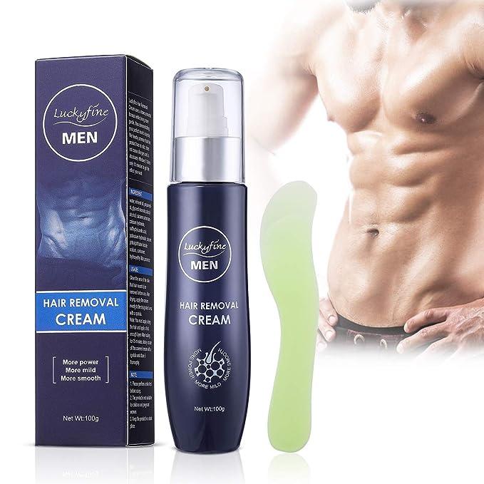 Luckyfine Crema Depilatoria para Hombres, Crema de Depilación, Suave para Areas Sensibles