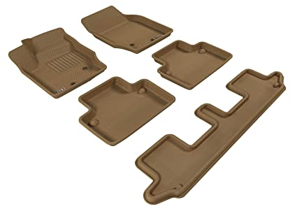 3d Maxpider Complete Set Custom Fit All Weather Floor Mat For Select Volvo Xc90 Models Kagu Rubber Tan