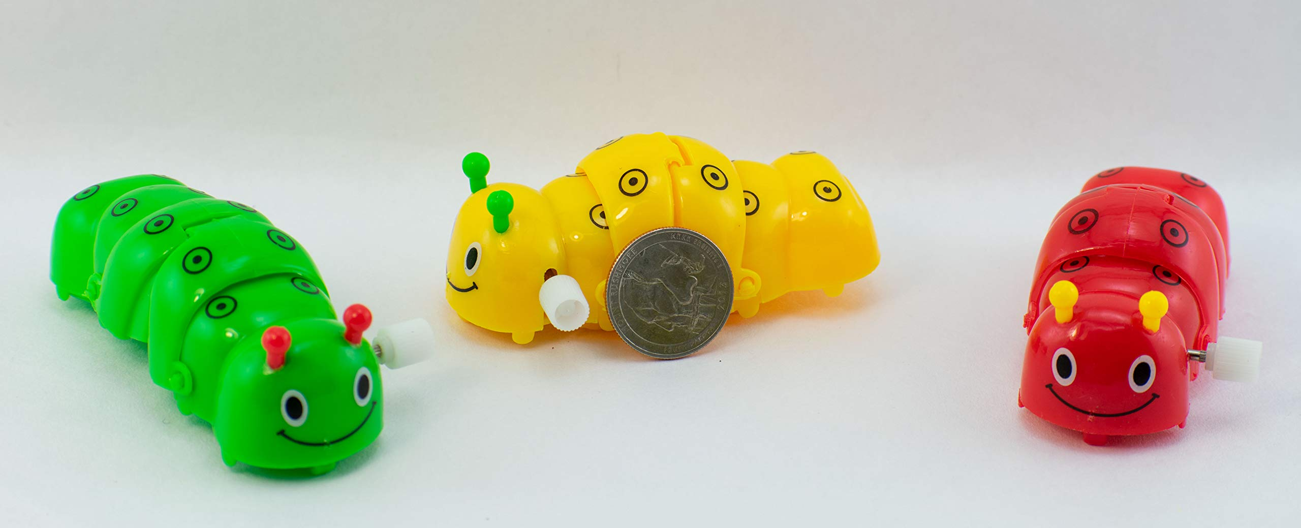 Giggle Time Wind-Up Caterpillar Assortment - (24) Pieces - Assorted Bright Colors - for Kids, Boys and Girls, Party Favors, Pinata Stuffers, Children's Gift Bags, Carnival Prizes by Giggle Time (Image #2)