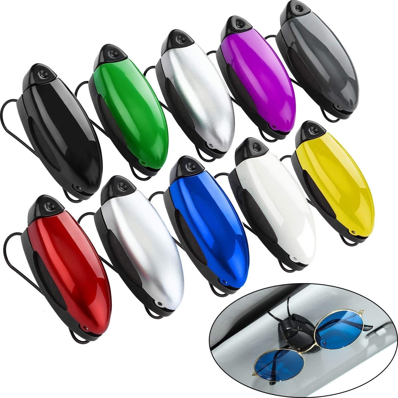 Glasses Holder Clip Hanger Eyeglasses Mount Ticket Card Clip Car Accessories TEUN 10 Pieces Auto Car Vehicle Sun Visor Clip Holder for Sunglasses