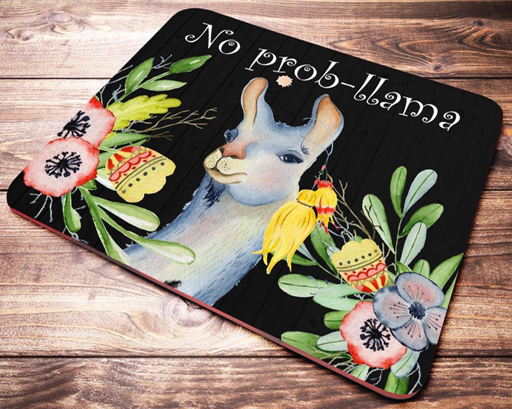 No Prob-Llama Funny Mouse Pad Mat Cute Floral Quote Lama Mousepad Desk Accessories for Women Teacher Great Gift Idea