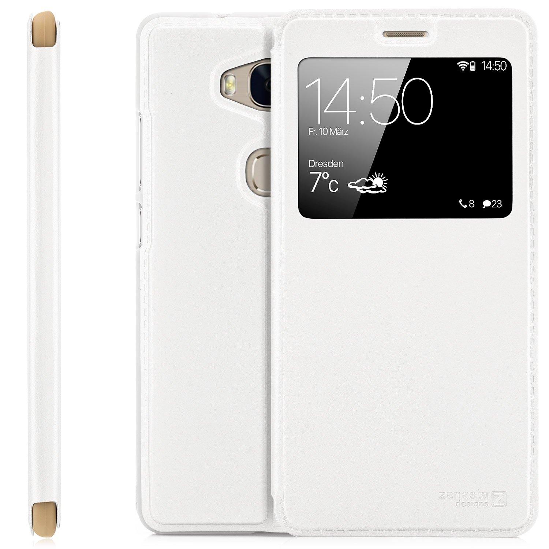 Huawei Honor 5X (KIW-L21) Case Protector Flip Cover [Zanasta Designs] Phone Wallet / View Flip Case with Window, High Quality Premium [Slim Profile] White
