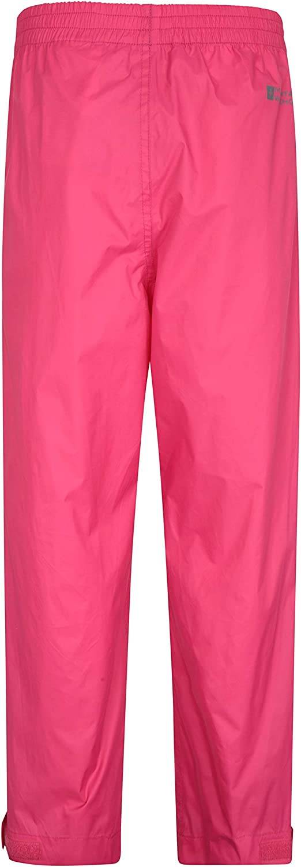 para la Escuela Mountain Warehouse Protectores Impermeables para ni/ños Pakka Tobillo Ajustable Pantalones Plegables para Lluvia Pantal/ón con Costuras Selladas