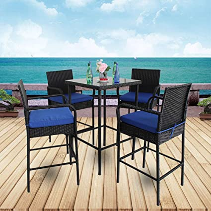 Fine Leaptime Patio Bar Set 5Pcs Black Rattan 1 Bar Table And 4 Stools Set Party Furniture Outdoor Garden Wicker Bar Set Easy Assembly Royal Blue Cushion Spiritservingveterans Wood Chair Design Ideas Spiritservingveteransorg