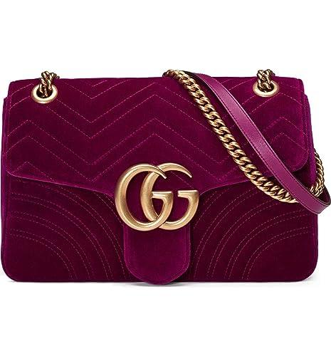 Image Unavailable. Image not available for. Colour  Gucci Medium GG Marmont  2.0 Matelassé Fuchsia Velvet Shoulder Bag 108cbd36a2e6f