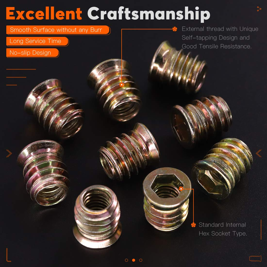 Rustark 50 pcs 5//16-18/× 12mm Screw-in Nut Hex Socket Drive Set Carbon Steel Zinc Plated Color Bolt Fastener Connector Threaded Insert Nuts for Wood Furniture