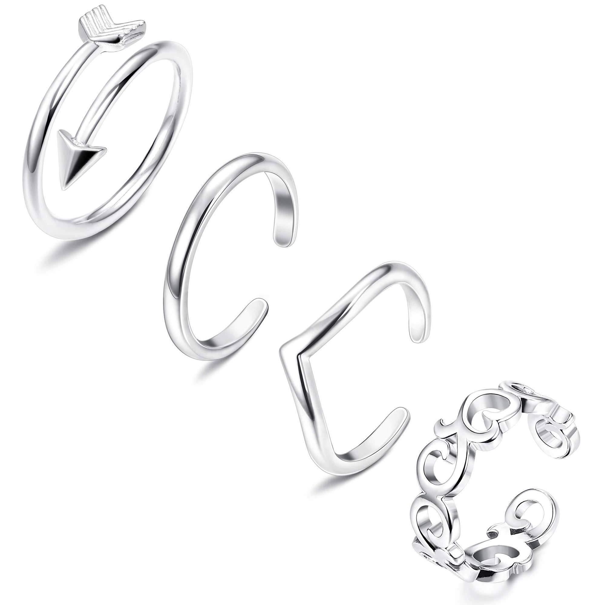 FIBO STEEL 3-18 Pcs Open Toe Rings for Women Arrow Tail Band Toe Ring Adjustable