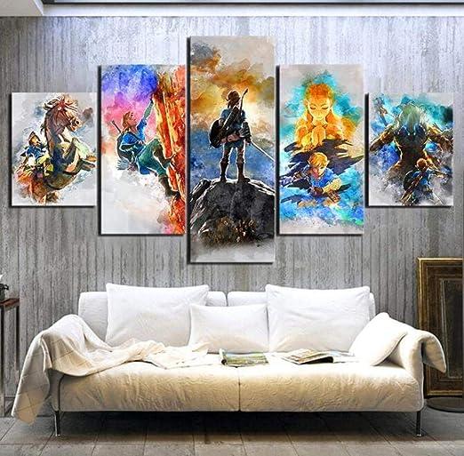 Legend Of Zelda Painting 5 Panel Canvas Print Poster Wall Art Home Decor