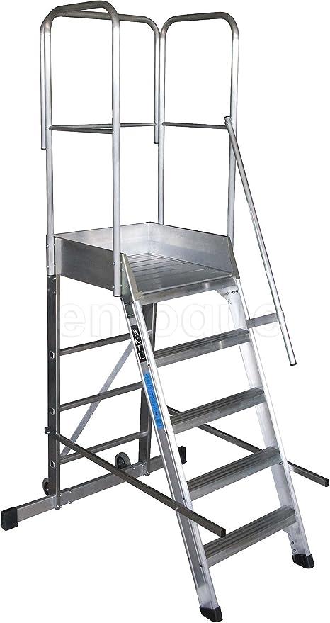 Escalera profesional de aluminio un acceso con plataforma de trabajo 5 peldaños 60x60 serie store 68º almacén: Amazon.es: Hogar