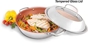 "NuWave Model 31124 Stainless Steel Ceramic BBQ Grill Pan (11"" Diameter) with Duralon Healthy Ceramic Non-Stick Coating, Stainless-Steel and Tempered Glass Dome Lid, and Ridges for Great Grill Marks"