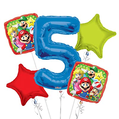 Super Mario Balloon Bouquet 5th Birthday 5 pcs - Party Supplies: Health & Personal Care