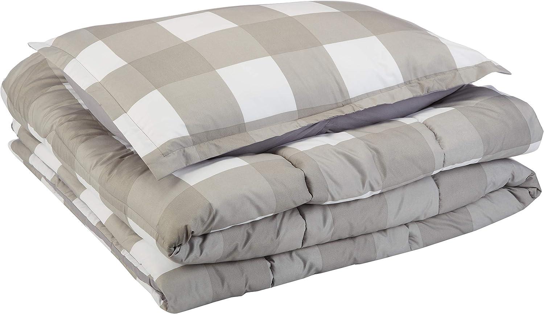 AmazonBasics Comforter Set, Twin / Twin XL, Dark Grey Oversized Gingham, Microfiber, Ultra-Soft