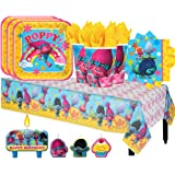 Another Dream Trolls Birthday Party Pack for 16 with Plates, Napkins, Cups, Tablecover, and Candles