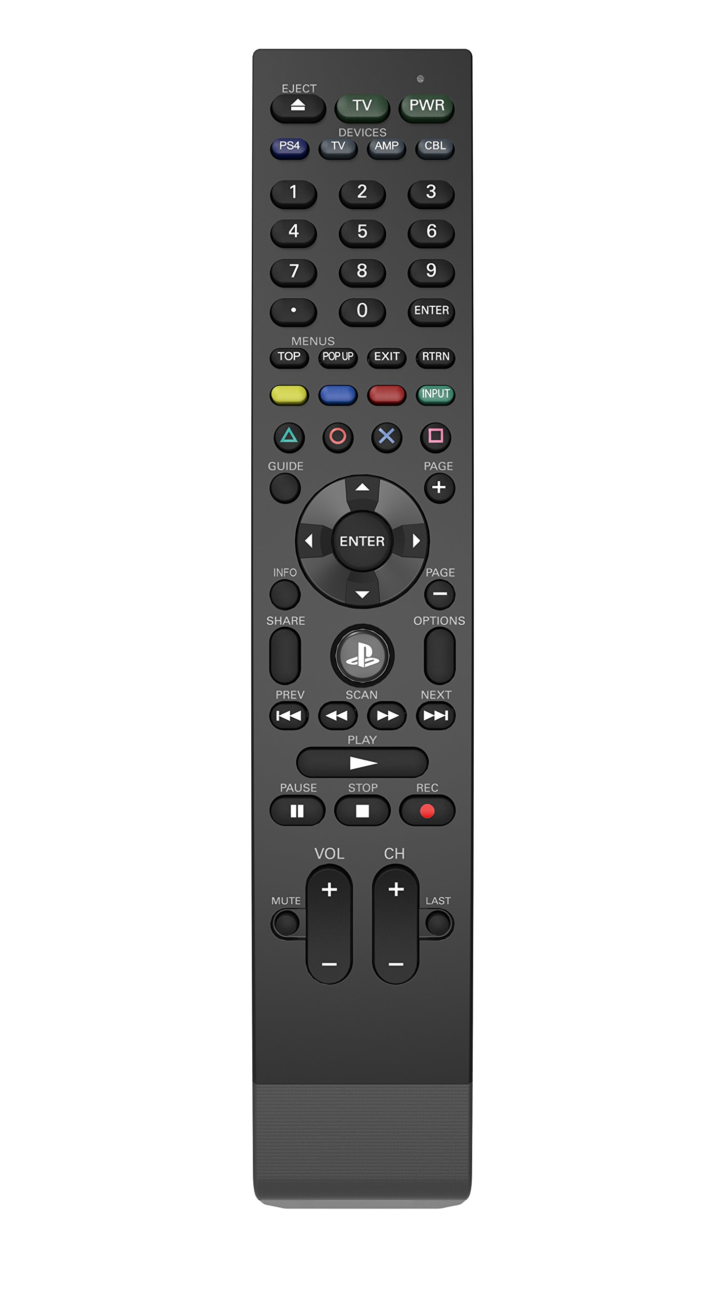 PDP Universal Media Remote Control for PS4, TV, Cable Box & Audio Receiver by PDP
