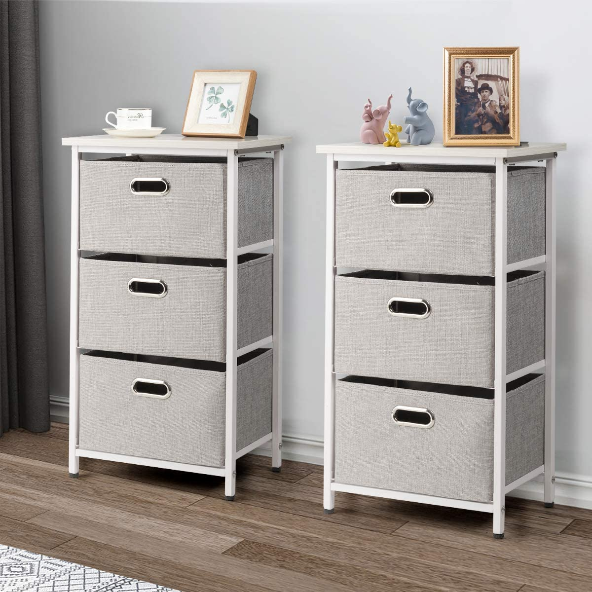 Giantex Vertical Dresser Storage W 3 Fabric Drawers,Easy Pull Fabric Bins,Steel Frame and Wood Top,3-Tier Organizer Tower Unit for Bedroom Hallway Entryway End Table 2, White