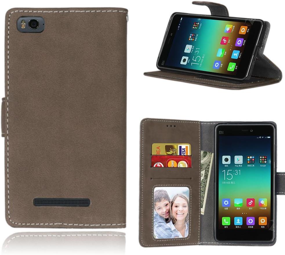 Funda Xiaomi Mi 4i 4c Mi4i Mi4c M4i M4c,Bookstyle 3 Card Slot PU Cuero Cartera para TPU Silicone Case Cover(Castaño)