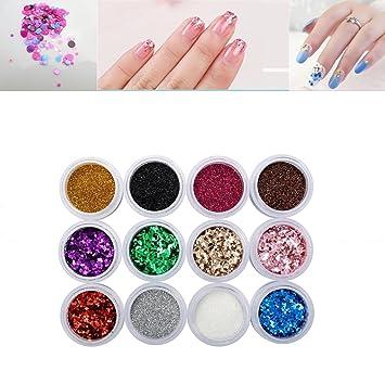 Amazon.com : Nail Art Glitter, DANCINGNAIL 12 Pcs/Set Nail Glitter ...
