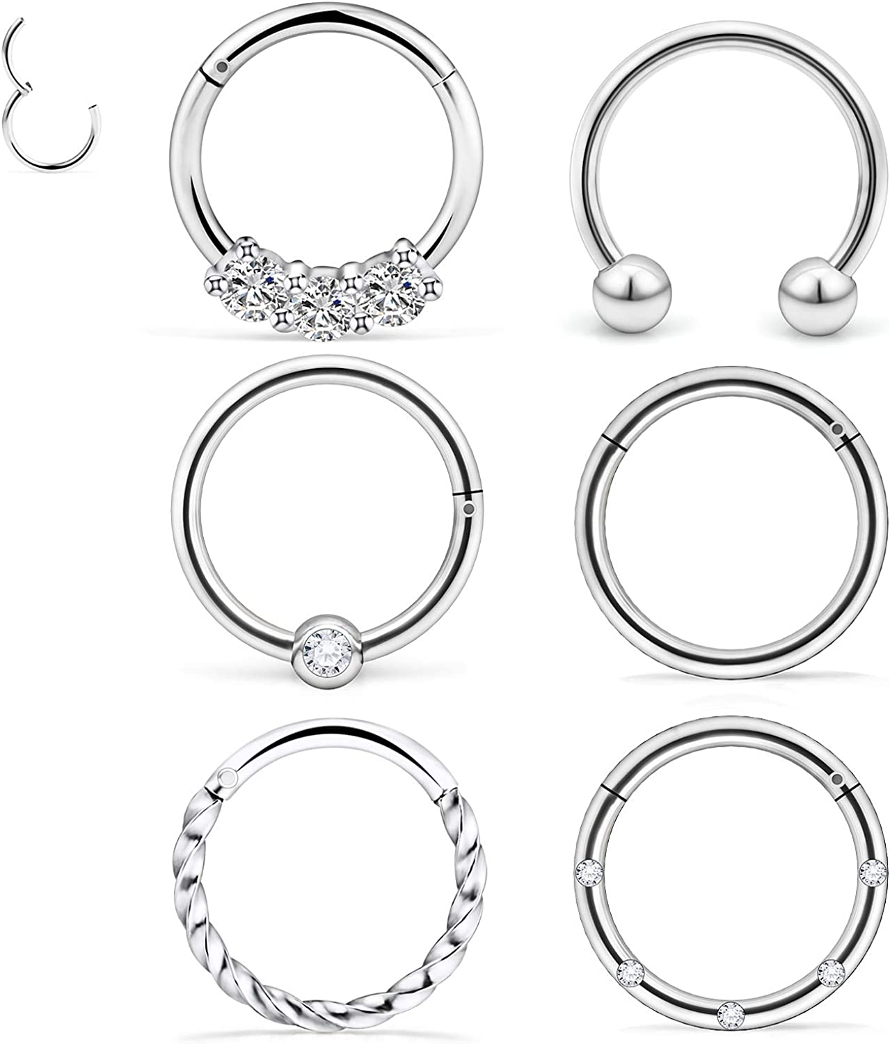 "Dyknasz Septum Jewelry 16G Surgical Steel Nose Rings Hoop Septum Clicker Ring with Clear Diamond CZ Cartilage Tragus Helix Earring Piercing Jewelry for Women Men 10mm (3/8"")"
