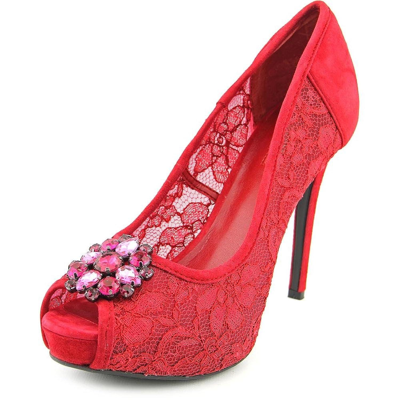 Guess Hotspot Women US 8.5 Red Peep Toe Platform Heel