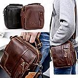MM Men's Leather Shoulder Messenger Bag Business Briefcase Handbag Brown