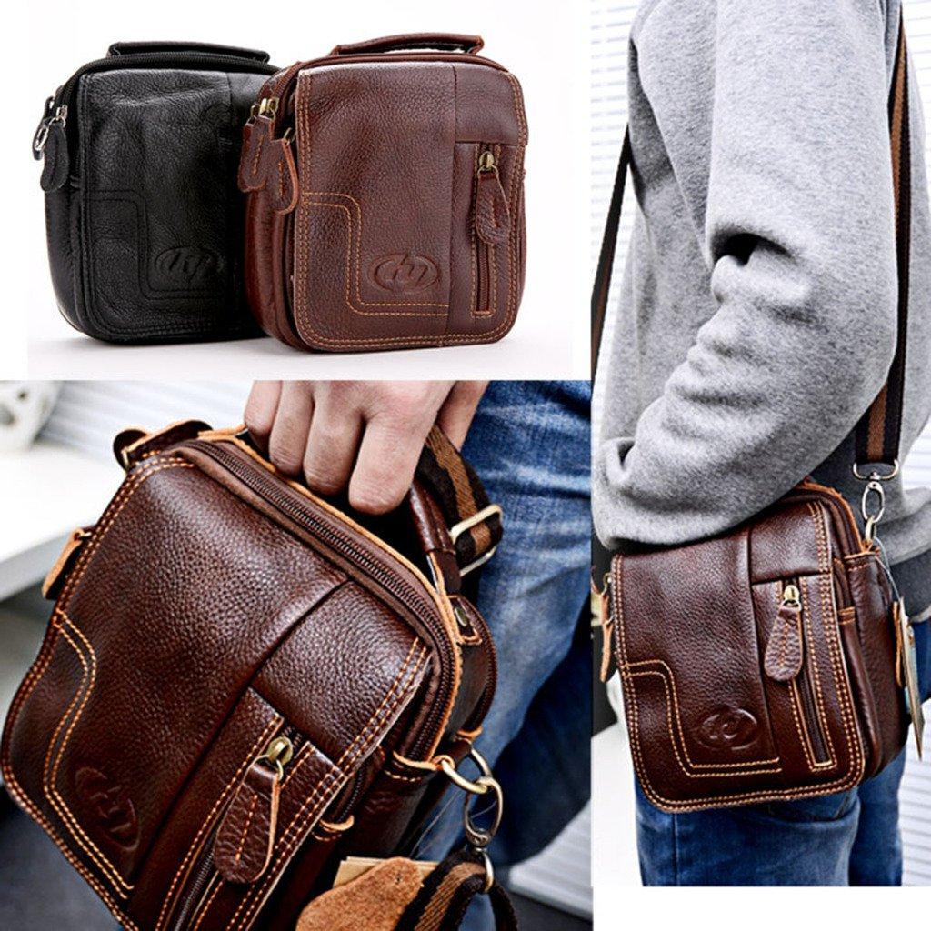 MM Men's Black Leather Cross Body Messenger Bag Shoulder Briefcase Travel/Work/School