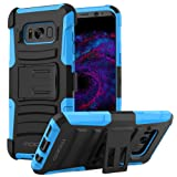 Galaxy S8 Case, MoKo Shock Absorbing Hard Cover Ultra Protective Heavy Duty Case with Holster Belt Clip + Built-in Kickstand for Samsung Galaxy S8 - Blue