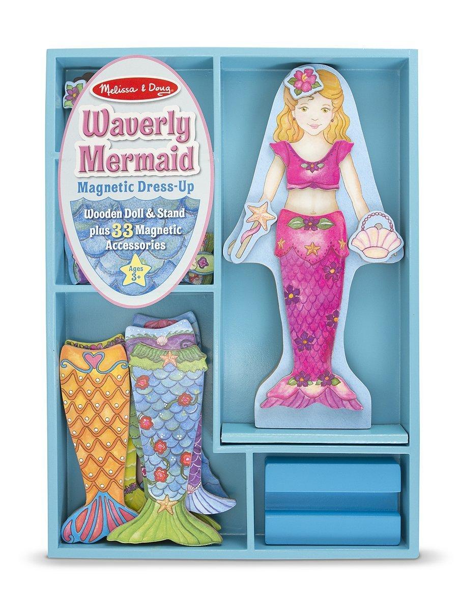 Melissa & Doug Waverly Mermaid - Magnetic Dress Up Wooden Doll & Stand + FREE Scratch Art Mini-Pad Bundle [86011] by Melissa & Doug