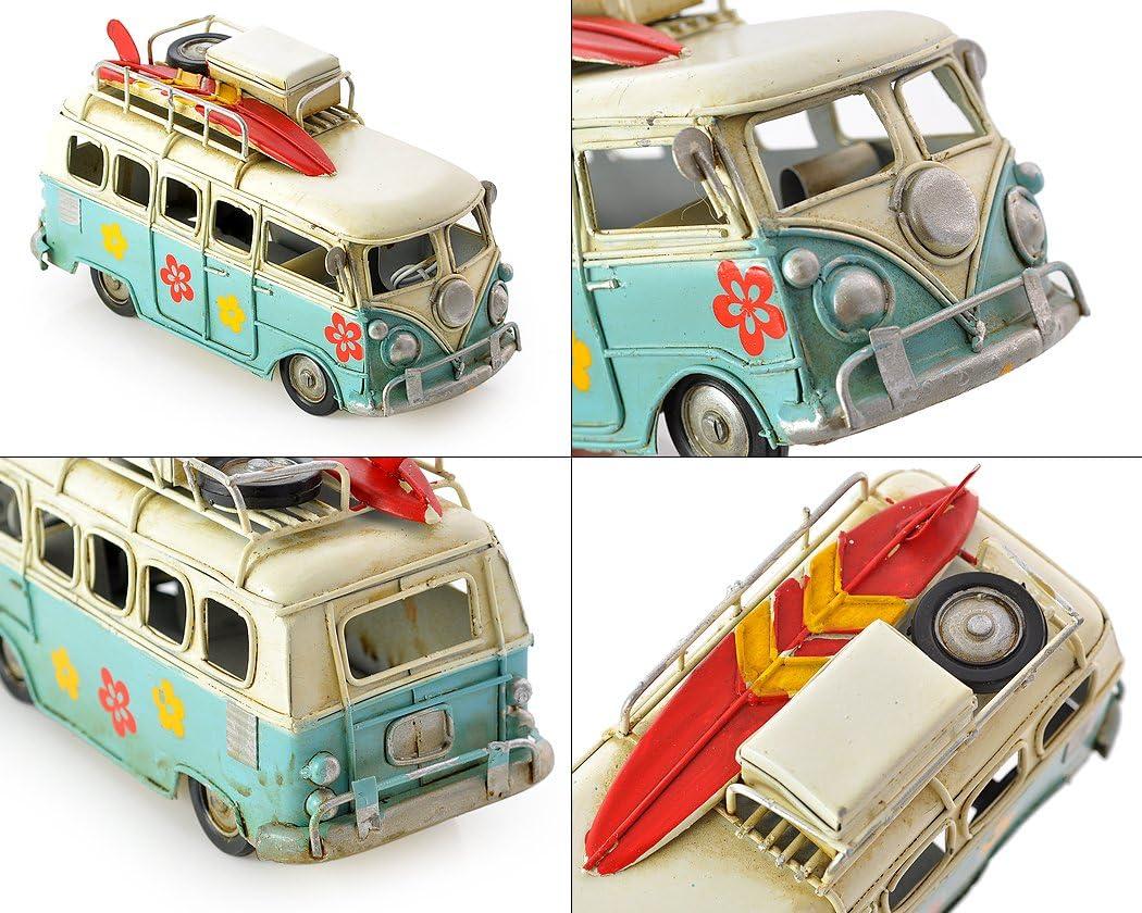 Bleu SCSpecial R/étro Camping-Car en m/étal 6,3 Pouces mod/èle de Jouet de Bus de Plage Classique VW T1