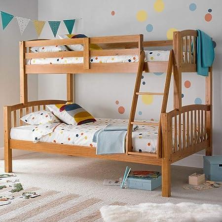 Litera americana para tres personas Happy Beds moderna de madera, mueble de dormitorio para niños, madera, verde pino, 4FT - Frame Only: Amazon.es: Hogar