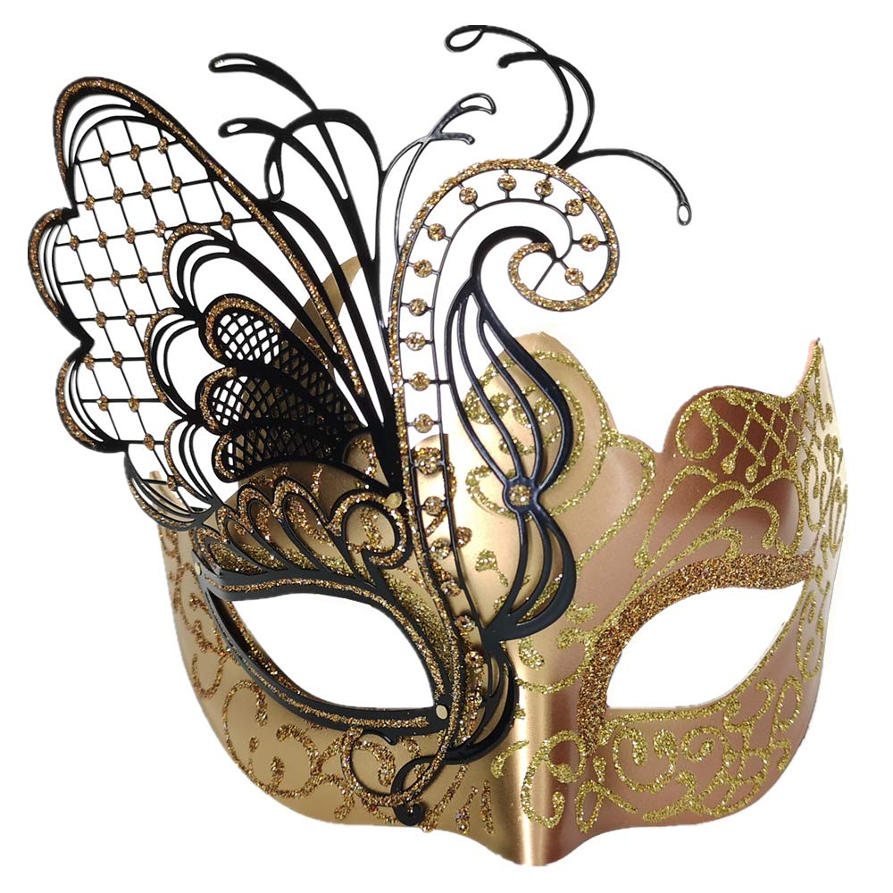 CCUFO Laser Cut Metal Venetian Women Mask For Masquerade // Party // Ball Prom // Mardi Gras // Wedding // Wall Decoration /… Flying Butterfly Black Face with Sparkling Wing