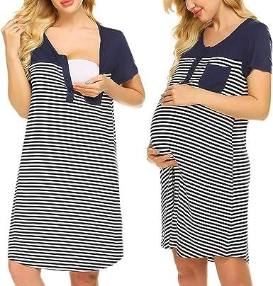 Camisón Premama Lactancia Pijama Embarazada de Vestido Maternidad Verano de Raya Manga Corta Ropa de Dormir para Mujer: Amazon.es: Ropa y accesorios