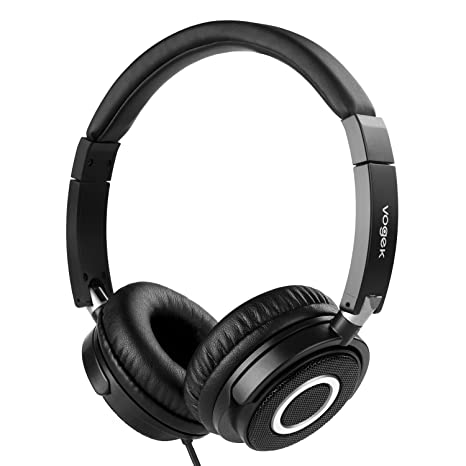 Review On Ear Headphones with Mic, Vogek Wired Foldable Bass Headphones with Volume Control and Microphone-Black