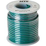NTE Electronics WH616-05-25 Hook Up Wire, Stranded, Type 16 Gauge, 25' Length, 600V, Green