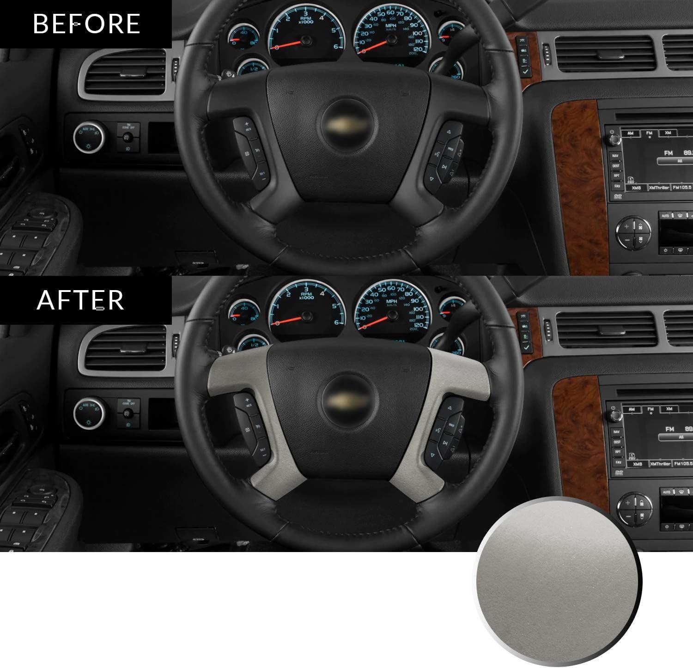 Optix Steering Wheel Spoke Vinyl Decal Overlay Trim Wrap Inserts Sticker Compatible with Tahoe Silverado Suburban Avalanche Sierra Yukon 2007-2013 Metallic Matte Chrome Silver