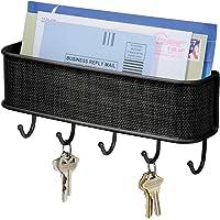 InterDesign 95877 Twillo Mail, Letter Holder, Key Rack Organizer for Entryway, Kitchen, Wall Mount, Matte Black