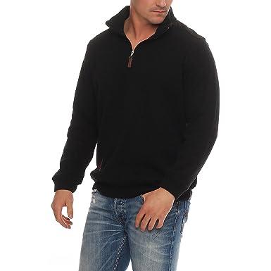 Benter Sudadera con Capucha Hombre Jersey de algodón Fino con Cuello Alto Logo Patches Regular Fit