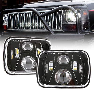 BICYACO DOT 110W 5x7 Inch Led Headlights 7x6 Hi/Low Led Sealed Beam Headlamp for Jeep Wrangler YJ Cherokee XJ H4 Plug H6054 Headlights H5054 6054 6052 Toyota Pickup(1 Pair): Automotive