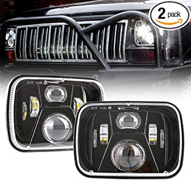 DOT 110W 5x7 Inch Led Headlights 7x6 Inch Hi//Low Led Sealed Beam Headlamp Compatible with Jeep Wrangler YJ Cherokee XJ Kenworth T300 1997-2010 H4 Plug H6054 Headlights H5054 6054 6052(Chrome)