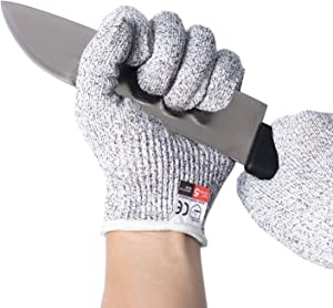 Convy GJ-0056 Cut Resistant Gloves, Safety Cutting Gloves Food Grade Level 5 Protection for kitchen, Transverse Knitting Tech, 1 Pair, Medium
