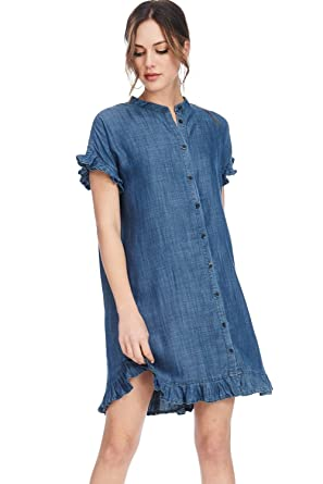 3bf96c1427c Alexander + David A+D Womens Casual Ruffle SLV Tencel Denim Midi Shirt Dress  (D Chambray