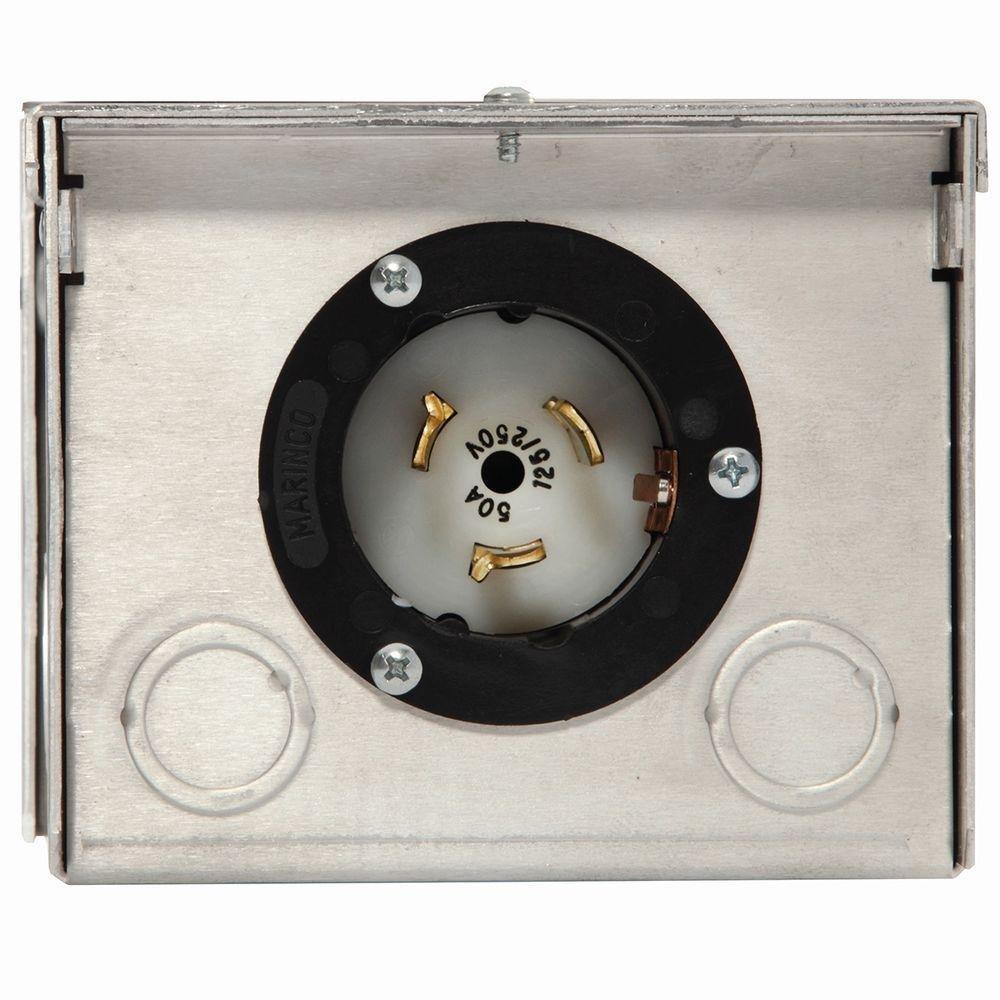 Generac 6344 50-Amp 125/250V Raintight Aluminum Power Inlet Box