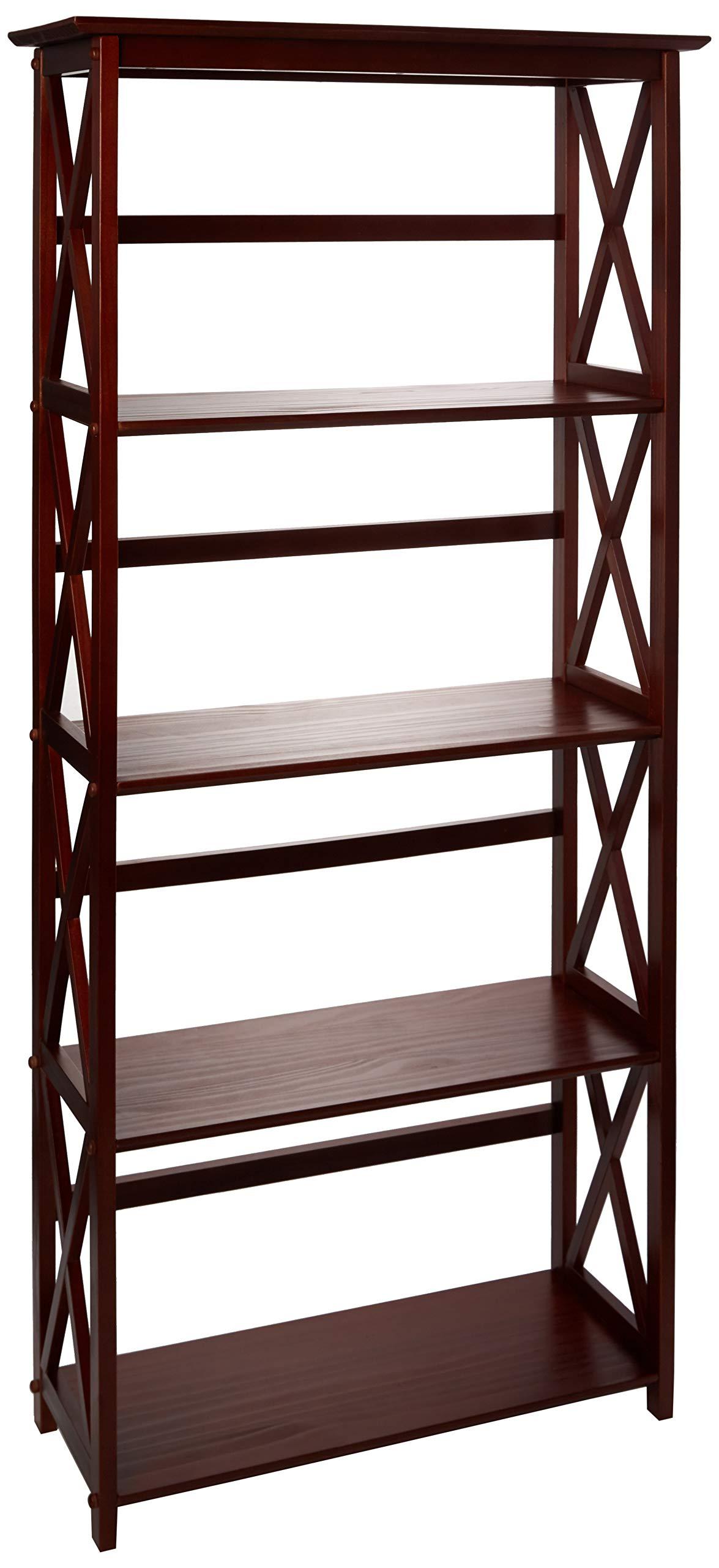 Casual Home Montego 5-Shelf Bookcase-Walnut