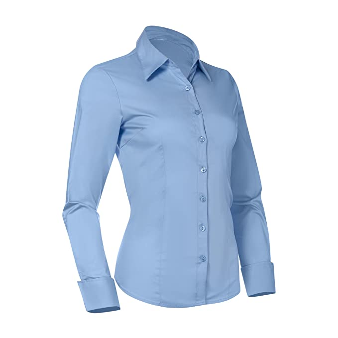 7dc5ac522e5 Pier 17 Button Down Shirts for Women, Fitted Long Sleeve Tailored Shirt  Blouse (X